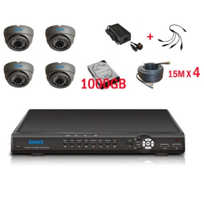 1000 GB HDD 4 Channel H.264 Network DVR with 4 IR 600 TVL Dome Cameras Mobile Access