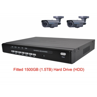 1500GB HDD 4 Channel H.264 Network DVR with 2 x 45 meter IR OSD CCD Cameras  Mobile Access