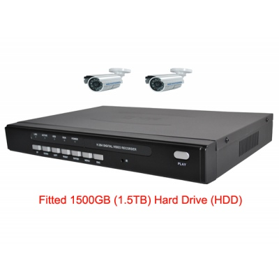 1500GB HDD 4 Channel H.264 Network DVR with 2 x CCD Cameras  Mobile Access