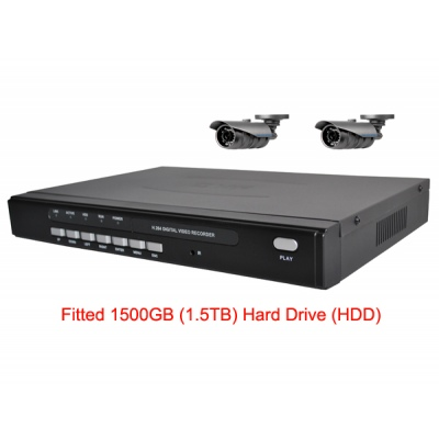 1500GB HDD 4 Channel H.264 Network DVR with 2 x wide angle CCD Cameras  Mobile Access