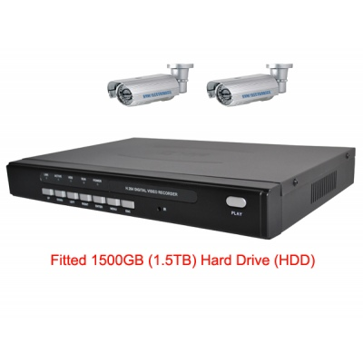 1500 GB HDD 4 Channel H.264 Network DVR with 2 x 50 meter IR  CCD Cameras  Mobile Access