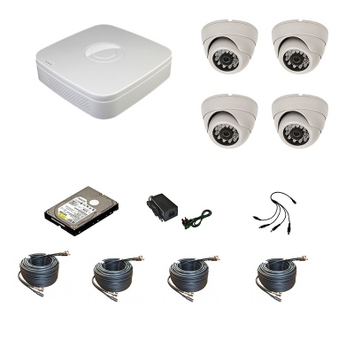 4 Channel 960H Network DVR with 4 x IR 800 TVL Dome Cameras Mobile Access + 1000GB HDD
