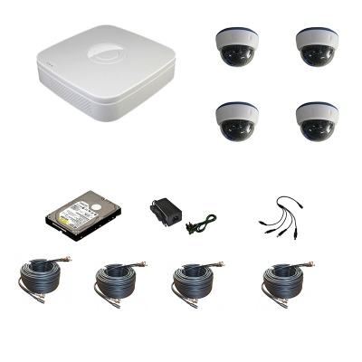 4 Channel 960H Network DVR with 4 x IR 800 TVL Dome Cameras Mobile Access Fitted 1000GB HDD