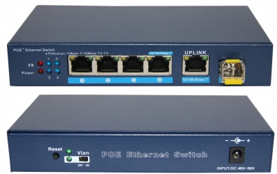 4-Port 10/100Mbps IEEE 802.3af/802.3at PoE Switch