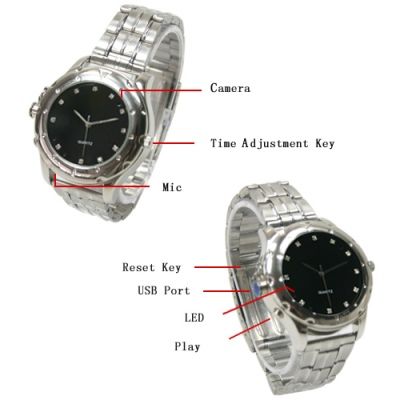 8GB Spy Watch with Bracelet Round Dial