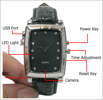 8GB Spy Watch with Leather Strap Rectangle Dial