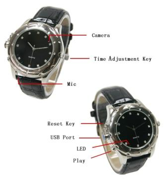 8GB Spy Watch with Leather Strap Round Dial