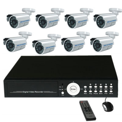 Complete CCTV system with 16CH stand alone DVR fitted 1500GB HDD and 8x30m weather proof IR 600TVL out door cameras support DVD