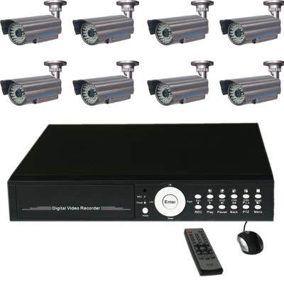 Complete CCTV system with 16CH stand alone DVR fitted 1500GB HDD and 8x40m weather proof IR 550TVL out door cameras support DVD
