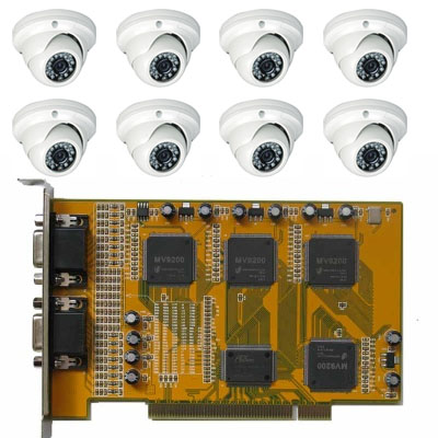 Complete DIY CCTV kit with 16CH DVR PCI card and 8 IR 550TVL Vandalproof Dome Cameras