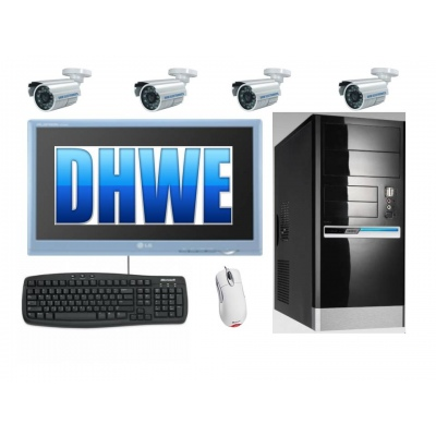 Pc CCTV DVR System Fitted 1.5TB HDD Inc 4 x 30M IR 550TVL Cameras  8ch pci Card