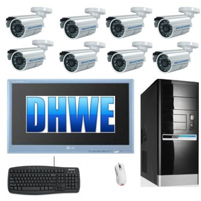 Pc CCTV DVR System Fitted 1.5TB HDD Inc 8 x 30M IR 550TVL Cameras  16ch pci Card