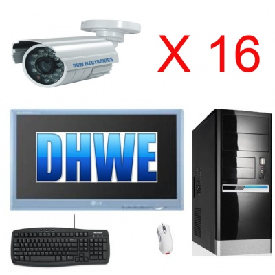 Pc CCTV DVR System Fitted 8TB HDD Inc 16 x 30M IR 550TVL Cameras  32ch pci Card