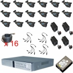 16 Channel CCTV DVR Kit with 16 x Infrared Night Vision 800TVL Weatherproof Cameras Mobile Access
