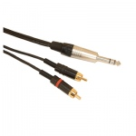 Professional 6.35mm Neutrik Stereo Jack Plug to 2 x Rean Phono Plug Screened Lead With Klotz Cable